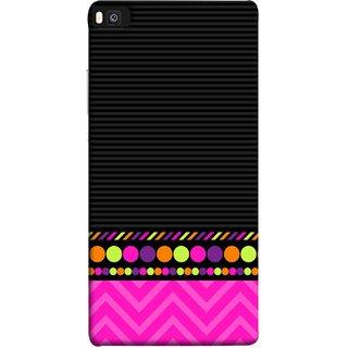 FUSON Designer Back Case Cover For Huawei P8 (White Pack Craft Paper Dots Black Background)