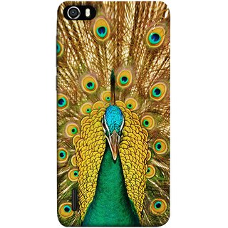 FUSON Designer Back Case Cover For Huawei Honor 6 (Nice Colourful Long Peacock Feathers Beak)