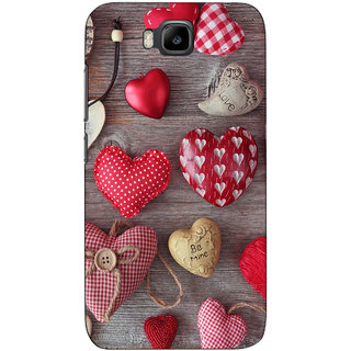 Sketchfab Most Sold Heart Pattern  Totu TPU Ultra Thin PREMIUM LATEST DESIGNER PRINTED CASE COVER For Huawei Honor Bee - Clear