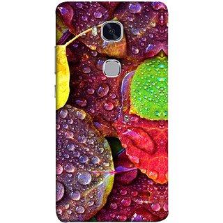 FUSON Designer Back Case Cover For Huawei Honor 5X :: Huawei Honor X5 :: Huawei Honor GR5 (Big Leaf Leaves Lotus Raindrops Forest Raining Season)