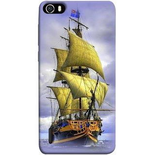 FUSON Designer Back Case Cover For Huawei Honor 6 (Big Ship In Ocean Vintage Tall High)