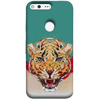FUSON Designer Back Case Cover For Google Pixel XL (Multicolour Tigers Leopard Perfect Look King Night Tree)