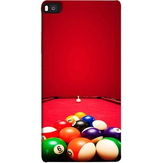 FUSON Designer Back Case Cover For Huawei P8 (Billards Pool Game Color Balls In Triangle Aiming)