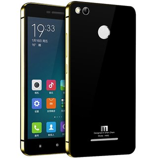 Shopizone Luxury Tempered Glass Mirror Back Cover Case For  Redmi 3S Pro / 3S Prime - Gold