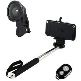 Smiledrive Selfie Stick With Universal Mobile Wide Lens & Wireless Clicker
