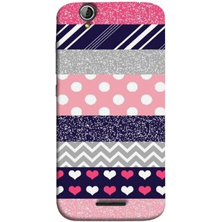 FUSON Designer Back Case Cover For Acer Liquid Z630 :: Acer Liquid Zade Z630S (Colourful Patterns Hearts Lines Checks Dark Red )