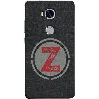 FUSON Designer Back Case Cover For Huawei Honor 5X :: Huawei Honor X5 :: Huawei Honor GR5 (Dark Alphabet Circle Vintage Grey Circle Pattern Z)