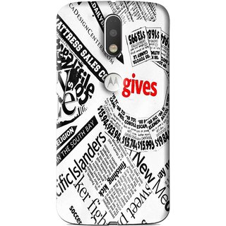 Snooky Printed Newspaper Mobile Back Cover For Moto G4 Plus - Multi