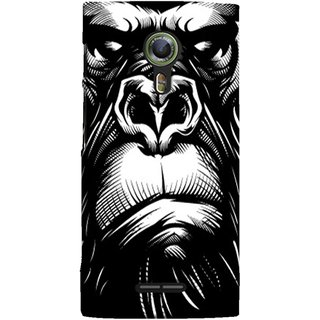 FUSON Designer Back Case Cover For Alcatel Flash 2 :: Alcatel Onetouch Flash 2 (Animal Background Open Ears Black Hairs Jungle Nose)