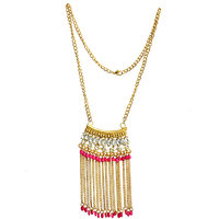 The Pari PinkGolden Non Plated Necklace Set For Women