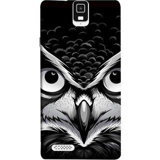 FUSON Designer Back Case Cover For Infocus M330 (Grey Owl Night Vision Big Beak Killing Look)