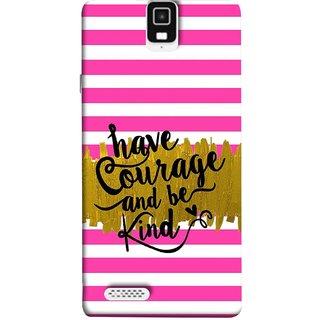 FUSON Designer Back Case Cover For Infocus M330 (Pink And White Horizontal Strips Gold Paint Black Font)