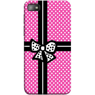 FUSON Designer Back Case Cover For BlackBerry Z10 (Red And Black With Ribbon Gift Presents Wrapping)