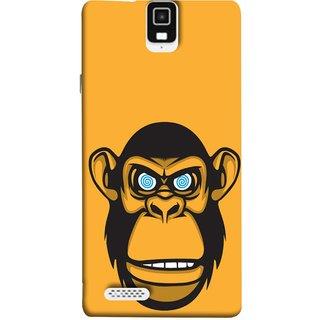 FUSON Designer Back Case Cover For Infocus M330 (Orange Background Open Ears Black Hairs Jungle Nose)