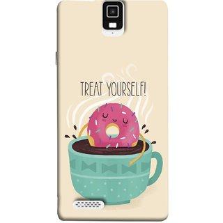 FUSON Designer Back Case Cover For Infocus M330 (Donut Strawberry Flavor Sinking In Hot Chocolate)