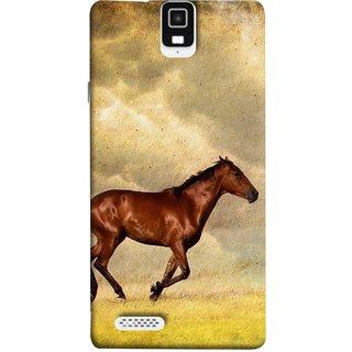 FUSON Designer Back Case Cover For Infocus M330 (Black Horse Animal Green Grass Blue Sky Clouds Look)