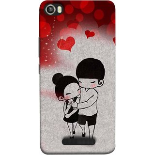 FUSON Designer Back Case Cover For Lava Iris X8 (Couple Enjoying Beautiful Lovers Red Hearts)