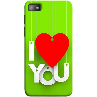 FUSON Designer Back Case Cover For BlackBerry Z10 (Just Green Say Always I Love You Red Hearts Couples)