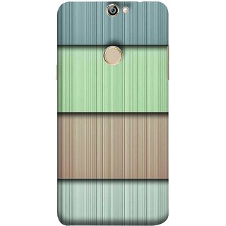 FUSON Designer Back Case Cover For Coolpad Max A8 (Strips Green Gray Sunmica Plywood Back Art)