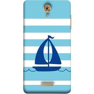 FUSON Designer Back Case Cover For Coolpad Mega 2.5D (Waves Horizontal Strips Color Yacht Navy Ocean Sea )