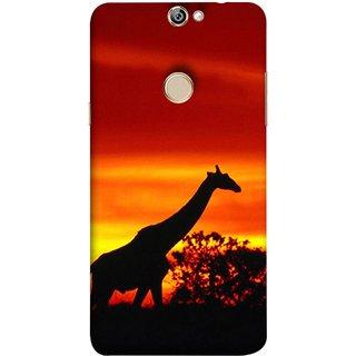FUSON Designer Back Case Cover For Coolpad Max A8 (Africa Sunset Giraffe Evening Wildlife Animals )