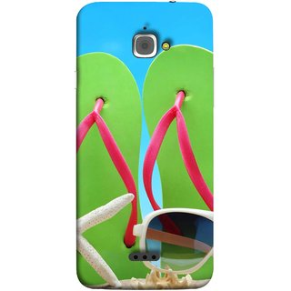 FUSON Designer Back Case Cover For InFocus M350 (Green Chappals Sand Starfish Sunny Day Sunshine)