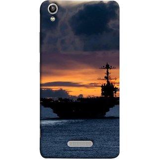 FUSON Designer Back Case Cover For Lava Pixel V1 (Sunrise Sunset With Silhouette Of Navy Ship Sailing Away)