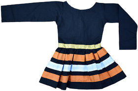Flora Self Design Cotton  Dresses For Girls