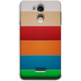 FUSON Designer Back Case Cover For Coolpad Note 5 (Rainbow Colours Bright Bands Red Orange Blue)