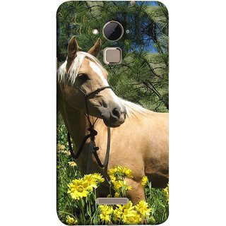 FUSON Designer Back Case Cover For Coolpad Note 3 Lite :: Coolpad Note 3 Lite Dual SIM (Pony Field Coffee Colour Horse Strong Walking )