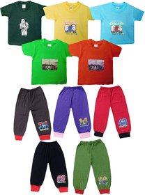 Jisha Boys Tshirt and Plain Capri hosiery cotton (TCCPLAIN) Pack of 5