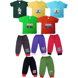 Jisha Boys Tshirt and Plain Capri hosiery cotton (TCCPLAIN) Pack of 5