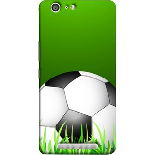 FUSON Designer Back Case Cover For Gionee Marathon M5 (Football Green Ground Ball Black White Fifa League )
