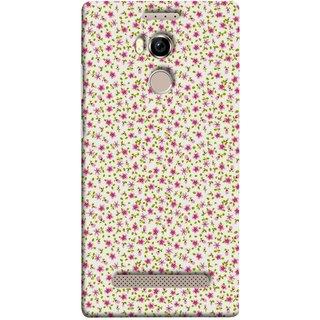 FUSON Designer Back Case Cover For Gionee Elife E8 (Pink Lecien Fabric Pink Blue Flower Green Leaf Tiny )