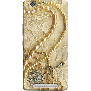 FUSON Designer Back Case Cover For Gionee Marathon M5 (Perals Diamonds Pendent Gold Hand Embroidery Stitches)