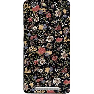 FUSON Designer Back Case Cover For Gionee Marathon M5 (Cotton Quilt Fabric Susie Butterfly Floral )