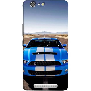 FUSON Designer Back Case Cover For Gionee Marathon M5 ( Road Shelby Mustang Engine Shelby Beautiful Blue)