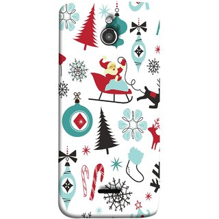 FUSON Designer Back Case Cover For InFocus M2 (Santaclaus New Year Igloo Snowflakes Candy Cane )