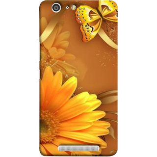 FUSON Designer Back Case Cover For Gionee Marathon M5 (Butterfly Bright Beautiful Colorful Yellow Splendo Trees )
