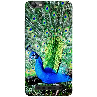 FUSON Designer Back Case Cover For Lenovo Vibe C :: Lenovo A2020 (Nice Colourful Long Attract His Mate Peacock Feathers Beak)
