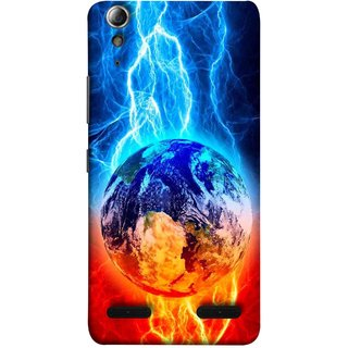 FUSON Designer Back Case Cover For Lenovo A6000 :: Lenovo A6000 Plus :: Lenovo A6000+ (Lightning On Globe Earth Space Beautiful Picture )