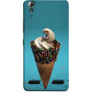 FUSON Designer Back Case Cover For Lenovo A6000 Plus :: Lenovo A6000+ :: Lenovo A6000 (Pinky Frosted Sprinkled Waffle Cone Crispy Coffee Flavour)