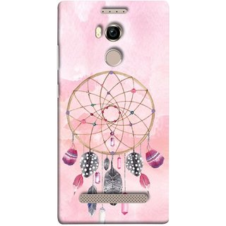 FUSON Designer Back Case Cover For Gionee Elife E8 (Pink Circle Design Birds Feathers Diamonds Ruby )