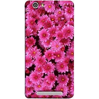 FUSON Designer Back Case Cover For Gionee Marathon M5 Lite (Thousands Flowers Magenta Mums Nature Pink)