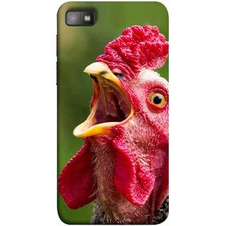 FUSON Designer Back Case Cover For BlackBerry Z10 (A Crowing Chicken Green Grass Village Morning )