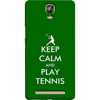FUSON Designer Back Case Cover For Gionee Marathon M5 Plus (Tennis Player Logo Keep Silent And Cool Game On)