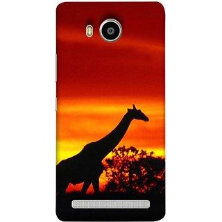 FUSON Designer Back Case Cover For Lenovo A7700 (Africa Sunset Giraffe Evening Wildlife Animals )