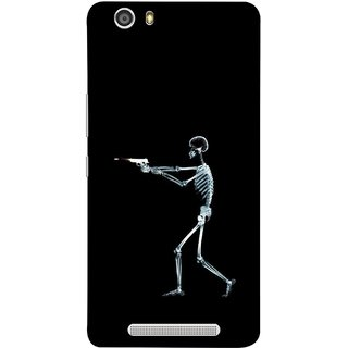 FUSON Designer Back Case Cover For Gionee Marathon M5 Lite (Incredible Human Xray Pictures Revolver Icon In Black)