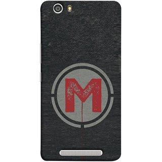 FUSON Designer Back Case Cover For Gionee Marathon M5 Lite (M Is Ok Initial Red Glossy Round Icon M Random Red)