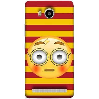 FUSON Designer Back Case Cover For Lenovo A7700 (Sad Moon Power Icons Red And Yellow Strips )